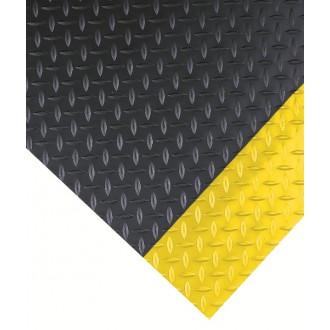 DIAMOND PLATE w/ Yellow Borders Vinyl Runner for Commercial Floors