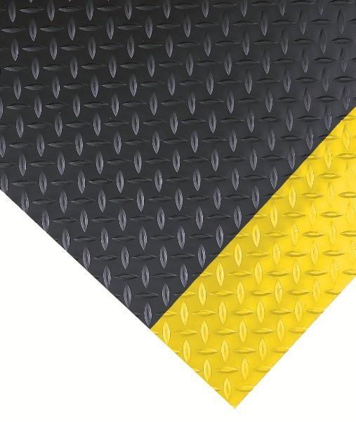 Diamond Plate W Yellow Borders Vinyl Runner Floor Mat
