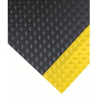 DIAMOND PLATE w/ Yellow Borders Vinyl Runner for Commercial Floors